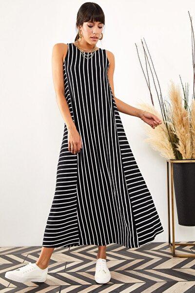 Kadın Siyah Çizgili Uzun Salaş Elbise ELB-19001075