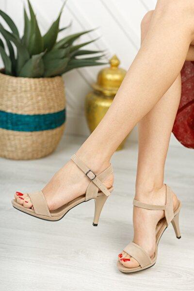 Kadın Ten Süet Tek Bant Sandalet