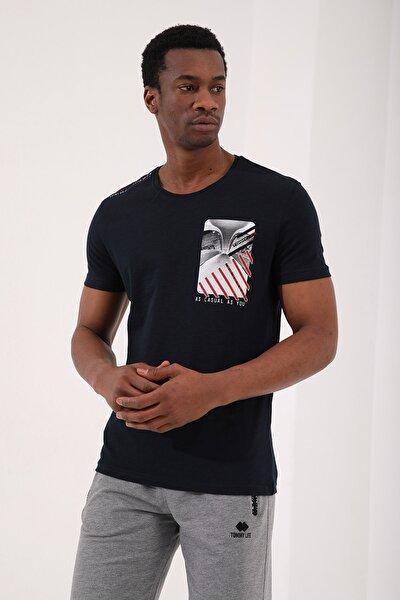Lacivert Erkek Göğüs Baskılı Koordinat Detaylı Standart Kalıp O Yaka T-shirt - 87894