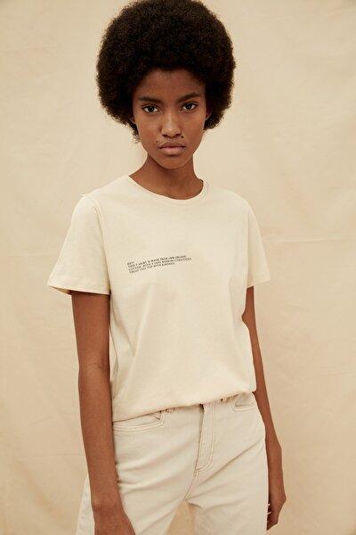 Bej %100 Organik Pamuk Basic Baskılı Örme T-Shirt TWOSS21TS1414