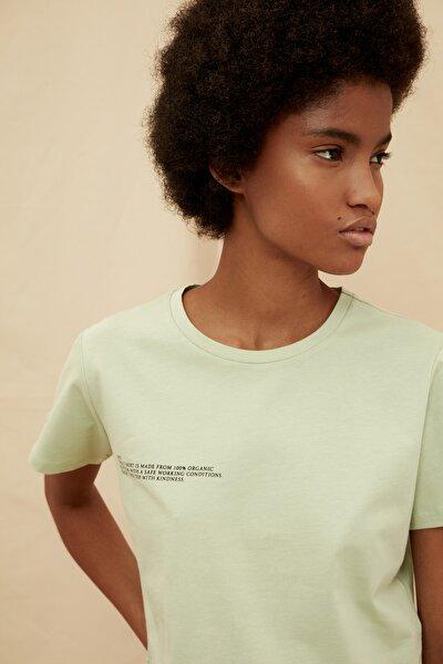 Mint %100 Organik Pamuk Ön ve Sırt Baskılı Crop  Örme T-Shirt TWOSS21TS1420