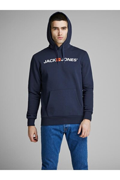 Jack&jones Erkek Baskılı Kapüşonlu Sweatshirt 12137054