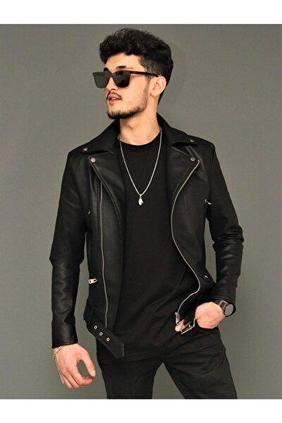 Yeni Sezon Erkek Siyah Deri Ceket