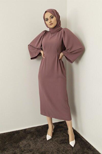 Kadın Gül Kurusu Kendinden Kemerli Elbise