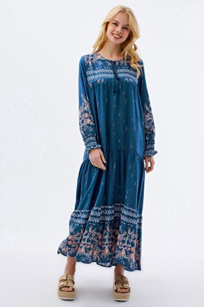 Kadın Çiçekli Uzun Elbise P21s110-5712