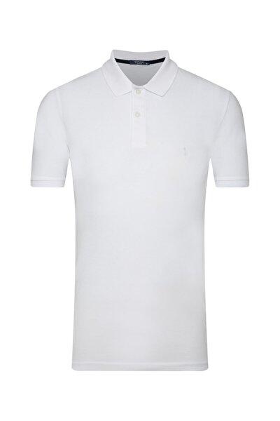 Erkek Beyaz Slim Fit Polo Yaka T-shirt