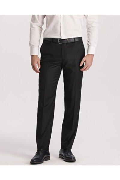 Erkek Siyah Rahat Kalıp Yüksek Bel Klasik Kumaş Pantolon