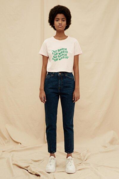 Indigo Paça Detaylı Yüksek Bel %100 Organik Pamuk Mom Jeans TWOSS21JE0308