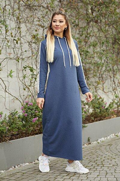 Kadın Indigo Yanı Şeritli Kapüşonlu Spor Elbise