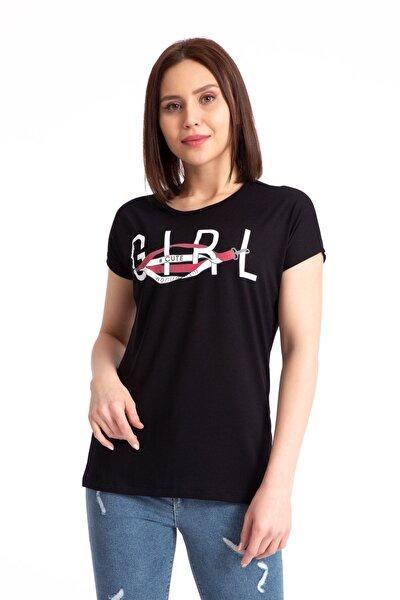Kadın Siyah  Girl Baskılı Salaş T-shirt 19497