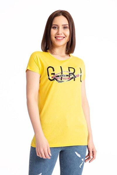 Kadın Girl Baskılı Salaş T-shirt 19497