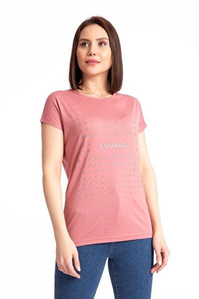 Kadın Pembe  Sim Baskılı Salaş T-shirt 19318