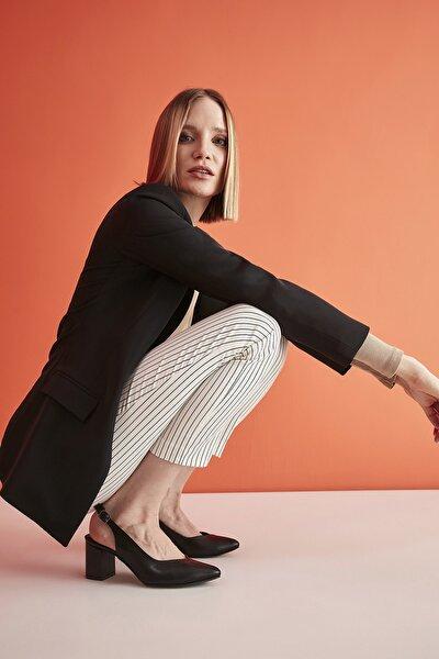 Suni Deri Siyah Kadın Klasik Topuklu Ayakkabı 01AYY209200A100