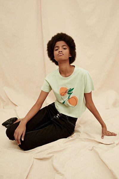 Mint %100 Organik Pamuk Crop Baskılı Örme T-Shirt TWOSS21TS1409