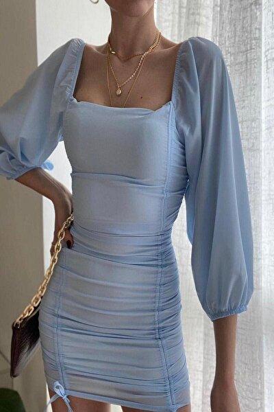 Kadın Buz Mavisi Büzgü Detaylı  Mini Elbise