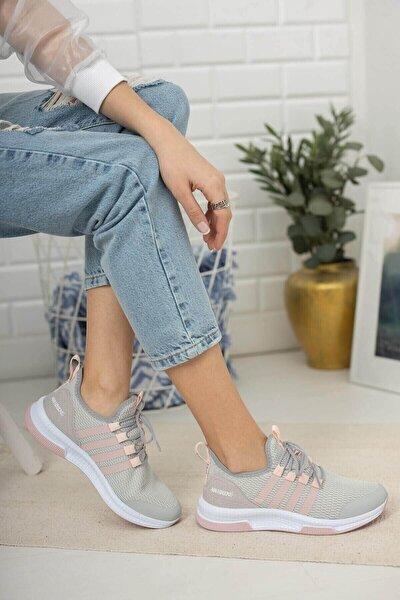 Kadın Pembe Beyaz Sportif Taban Günlük Kullanım Rahat Ve Esnek Spor Ayakkabı
