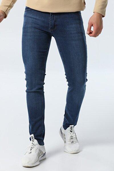 Erkek Mavi Slim Fit Likralı Pantolon