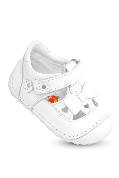 Ilkadım Hakiki Deri Kız Bebek Çocuk Ortopedik Ayakkabı Patik Imsk 601 B-beyaz
