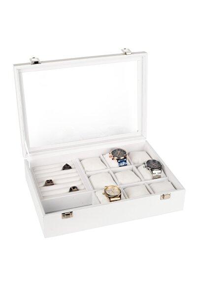 Saat +yüzük+ Kol Düğmesi +gözlük Çok Amaçlı Takı Kutusu Ahşap Kasa Üzeri Deri Kaplama