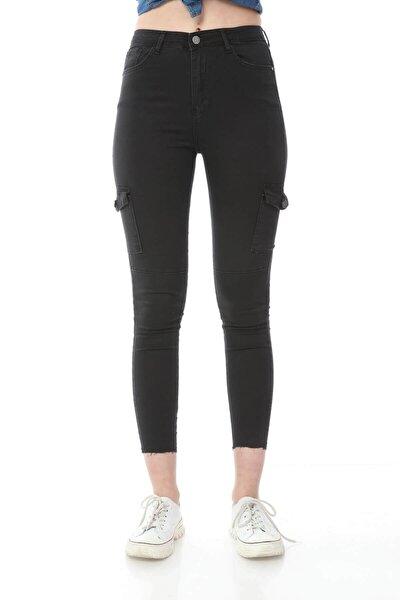 Kadın Siyah Kargo Cep Detay Pantolon