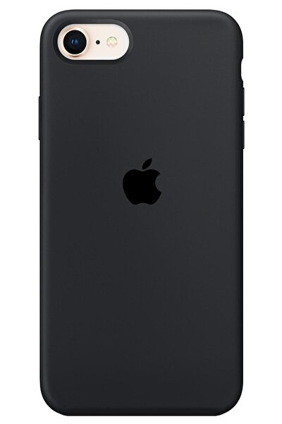 Iphone Se 2020 Uyumlu Kılıf Logolu Lansman Kılıf Altı Kapalı Iç Kısmı Süet - Siyah