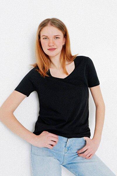 Kadın Siyah V Yaka T-Shirt P0757 - Dk13 Adx-0000020834