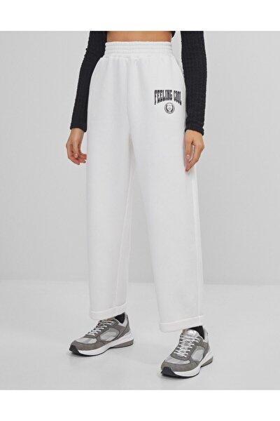Kadın Ekru Varsity Slouchy Pantolon