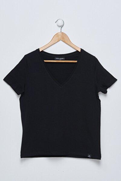 Kadın Siyah V Yaka Tshirt