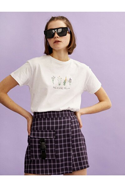 Kadın Ekru Çiçek Baskılı Pamuklu Bisiklet Yaka T-Shirt