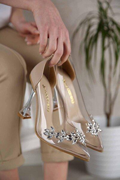 Kadın Ten Cilt Taşlı Şeffaf Topuklu Ayakkabı