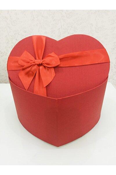 Kırmızı Kalpli Büyük Boy Hediye Kutusu