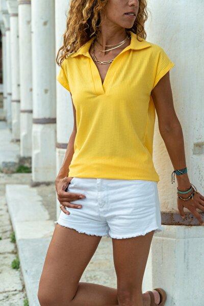 Kadın Sarı Polo Yaka Kaşkorse T-Shirt GK-BSTW2879