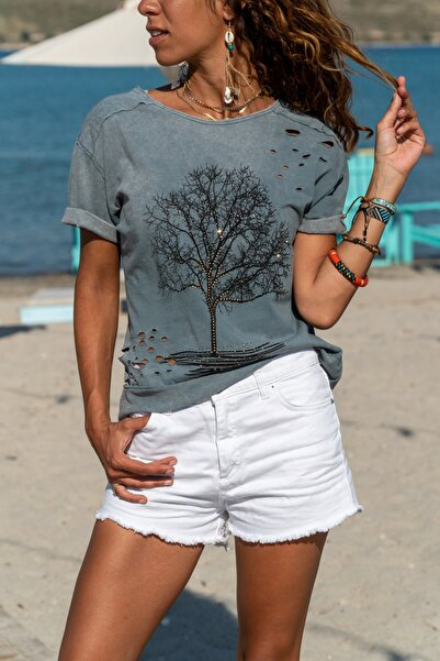 Kadın Gri Yıkamalı Yırtıklı Işlemeli T-shirt Gk-cck58052