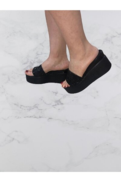 Kadın Siyah  Pc51261-01 Yüksek Topuk Terlik