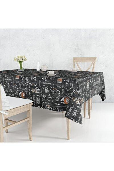 Cafe Desenli Siyah Pvc Muşamba Astarlı Masa Örtüsü 140x180 Cm Dikdörtgen