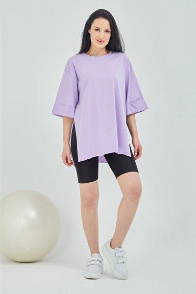 Kadın Mor Duble Kol Salaş T-shirt