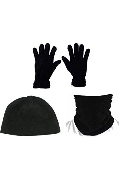 Unisex Siyah Polar Bere Boyunluk Eldiven 3'lü Set
