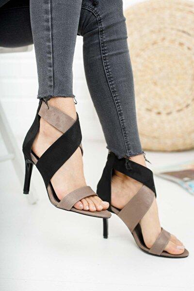 Siyah Gri Süet Ince Kadın Topuklu Ayakkabı