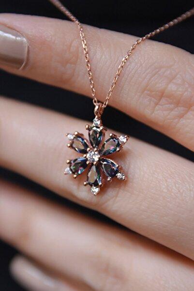 925 Ayar Gümüş Rose Mistik Topaz Taşlı Kamelya Çiçeği Kadın Kolye