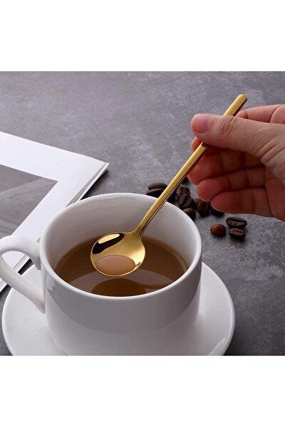 6'lı Gold Çay Kaşığı Kahve Dondurma Tatlı Kek Şeker Kaşık Seti
