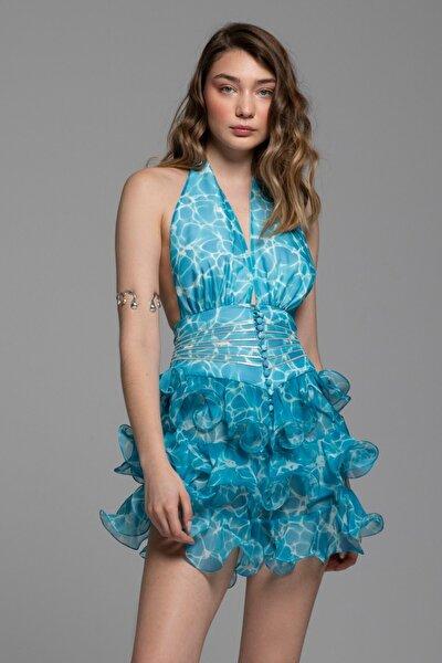 VKadın Mavi olan ve Nervür Detaylı Desenli Mini Samantha Elbise