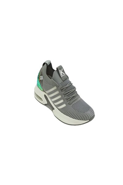 20y308-7 Kadın Gri Gizli Topuk Yüksek Taban Sneakers Spor Ayakkabı 20y308-16