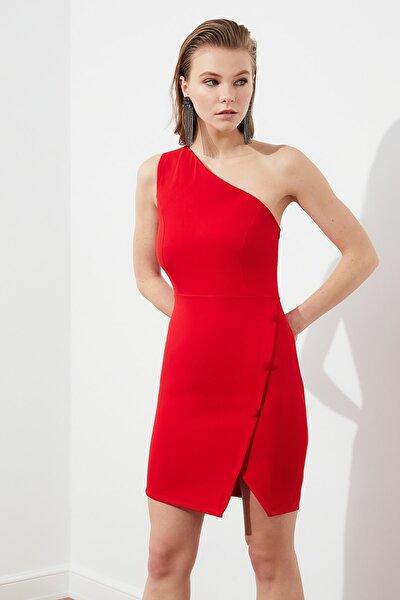 Kırmızı Düğme Detaylı Anvelop Elbise TPRSS21EL0795