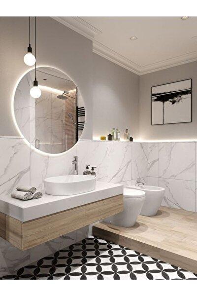 Pilli Beyaz Ledli Duvar Aynası Hediyelik Banyo Aynası/ 60 Cm