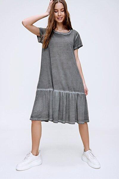 Kadın Antrasit Eteği Volanlı Yıkamalı Elbise MDA-1129