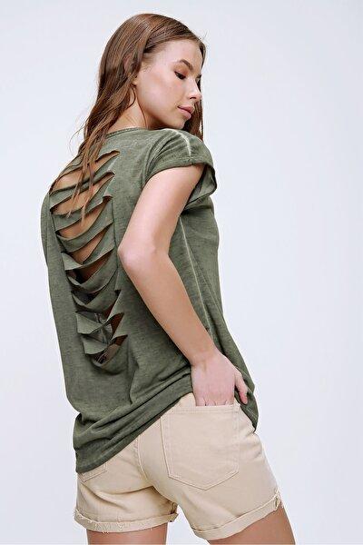 Kadın Haki Lazer Kesimli Yağ Yıkamalı T-Shirt MDA-1118