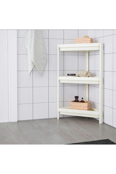 Vesken 3 Katlı Beyaz Köşe Banyo Raf Ünitesi - Üçgen Raf Ünitesi