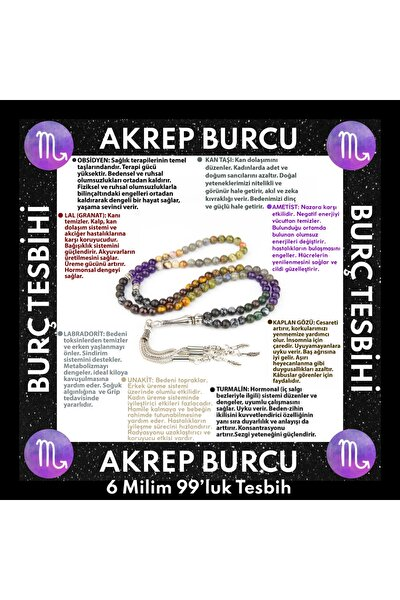 Akrep Burcu 99'luk Tesbih Obsidyen-kan Taşı -ametist-lal-labradorit-kaplan Gözü-unakit-turmalin