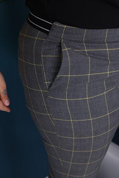 Kadın Gri Sarı Çizgili Ekose Ramon Büyük Beden Pantolon
