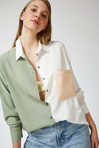 Kadın Açık Çağla Yeşili Blok Renkli Oversize Viskon Gömlek DD00843